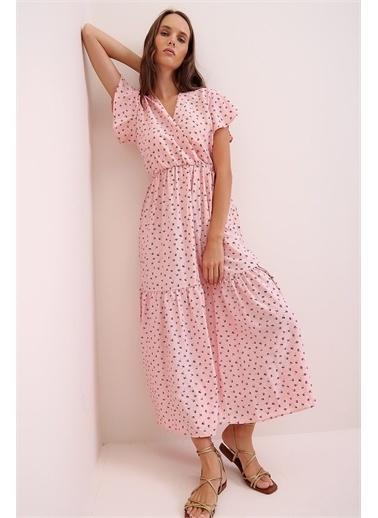Pink Park V Yaka Kruvaze Eteği Volanlı Maxi Boy Elbise RD00032 Pembe